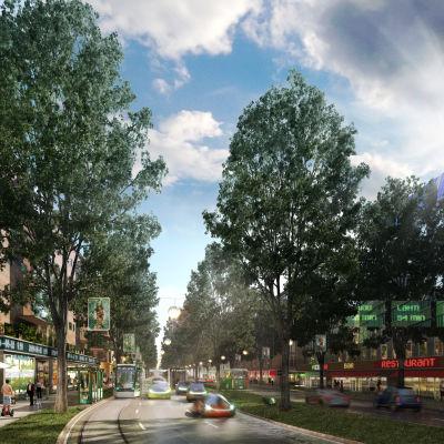 Visionen för Lahtisledens stadsboulevard år 2050.