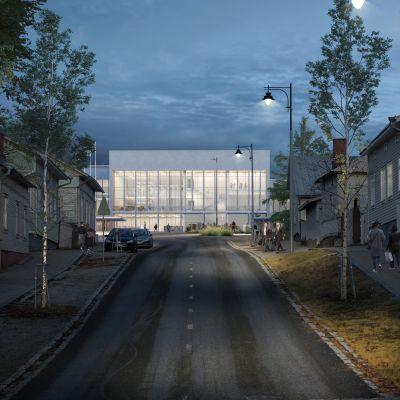 Uudenkaupungin uusi sivistys- ja hyvinvointikeskus ulkoa.