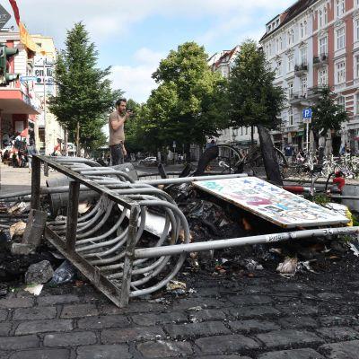 Omfattande demonstrationer och förstörelse i distriktet Schanzenviertel i Hamburg under G20-mötet