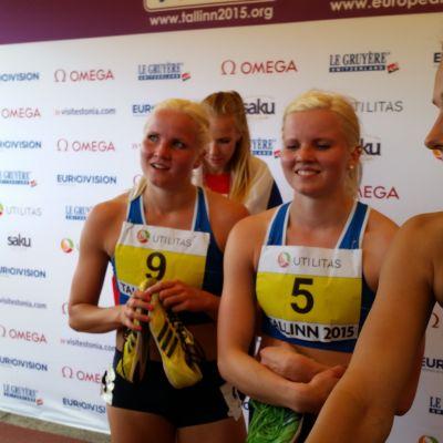 Jutta Heikkinen, Hertta Heikkinen och Miia Sillman, U23-EM i Tallinn, 10.7.2015.