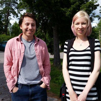 Mikko Piiroinen ja Valeria Paganelli Suomi-Seuran suomen kielen kurssilla.