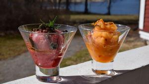 Portioner med hallon- och havtornssorbet i skålar.