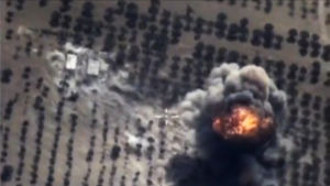 Ryska flyganfall mot Islamiska staten i Idlib i Syrien.