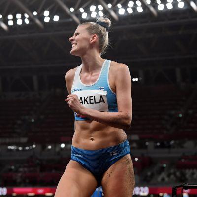 Kristiina Mäkelä under trestegskvalet i OS.