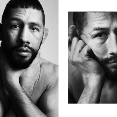 Två svartvita foton på Musse Hasselvall.