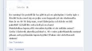 Varning som cirkulerade på Facebook i aug/sept 2012.
