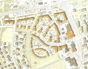 En kartbild som visar hur flervåningshus och radhuslängor planerats på det nya området i Sjundeå kommuncentrum, Sjundeås hjärta.