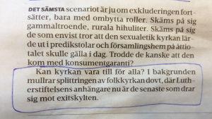 Urklipp ur KP inför påsken 2013, förf. May Wikström