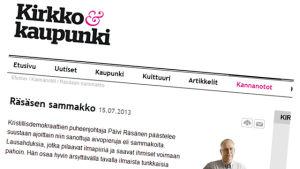 En ledare i tidningen Kirkko ja Kaupunki kritiserar Räsänen