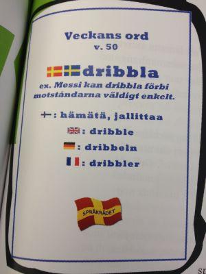 I Helsinge skola lyfter man varje vecka fram ett ovanligt ord -- den här veckan är ordet dribbla.