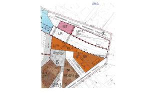 En planekartbild över affärskvarter i Norra hamnen i Ekenäs.