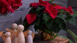 Julstjärna och änglakör i trä.