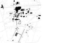 Karta över byggnaderna på fabriksområdet i Koverhar.