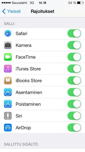 iOS7:n rajoitukset