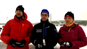 Kolme kovaa testaajaa Päivi Alaoja, Simo Takapuro ja Pekka Uutela
