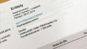 Sähkölaskusta löytyy mm. kulutusarvio