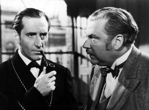 Basil Rathbone ja Nigel Bruce elokuvassa Sherlock Holmesin seikkailut (1939)