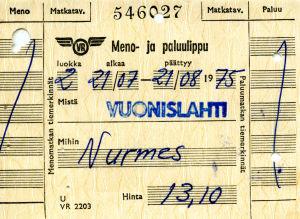 Vanha junalippu vuodelta 1975.