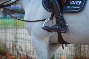 Valkoinen hevonen ja ratsastajan jalka