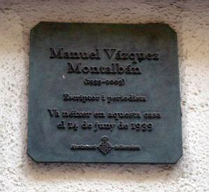 Manuel Vazquez Montalbanin muistolaatta
