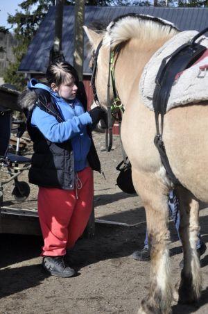 Tyttö pitää hevosta kuolaimista