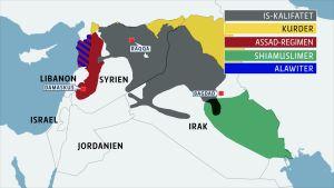 syrien, irak, etniska och religiösa områden