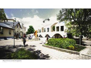 En skiss över det nya huset som planeras på Köpmansgatan 7 i Pargas.