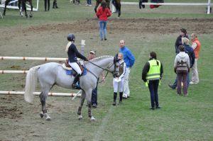 eläinlääkäri tarkastaa hevosta ennen kilpailuradalle menoa