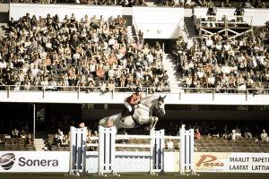 Valkoinen hevonen hyppää esteen