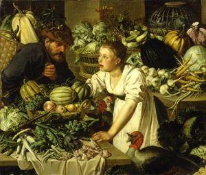 Vihannestori, maalaus. Pieter Cornelisz van Ryck:  Still Life with Two Figures