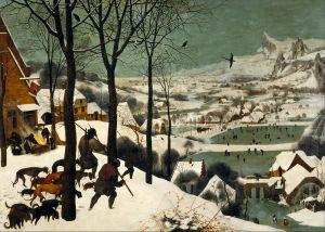Brueghel: Metsästäjiä talvimaisemassa
