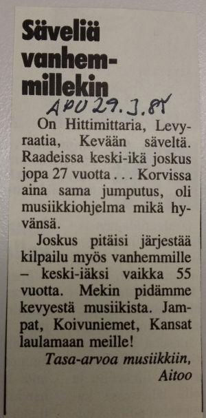 Valokuva Apu-lehdessä jukaistusta katsojapalautteesta 29.3.1985