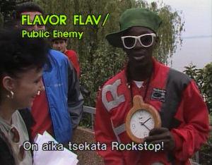 """Flavor Flav valjastettiin """"sponsoroimaan"""" Rockstopia. (1988)"""