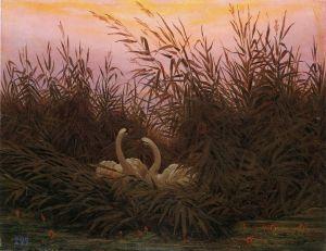 Caspar David Friedrich - Schwäne im Schilf beim ersten Morgenrot (1832)