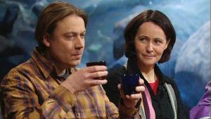 Jani Kaaro ja Anne Puuronen Voimala-ohjelman vieraina