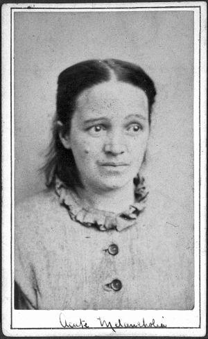 Tämä nainen kärsii akuutista melankoliasta. Lääketieteellistä kuvitusta 1800-luvulta.