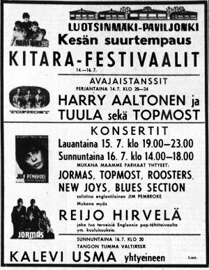 Porin kitarafestivaalin mainos Satakunnan Kansa -lehdessä 1967.