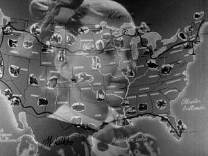 Ristikuva pikkutytöstä (Kaarina Tamminen) ja USA:n kartasta (1947).