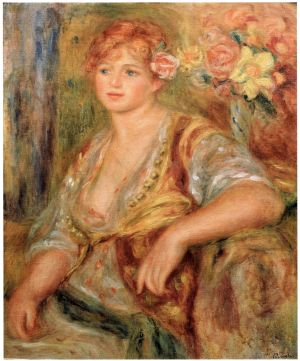 Auguste Renoirin maalaus Vaaleatukkainen tyttö ja ruusu