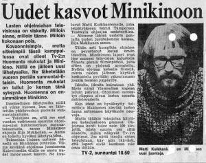 Ilta-Sanomista 11.10.1970. Nuori Eija Makkonen kohtasi isoja haasteita heti Minikinon ohjaajaksi päästyään.