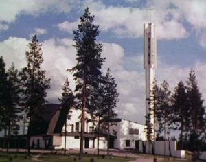 Imatran Kolmen ristin kirkko on Alvar Aallon suunnittelema.