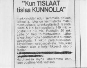 Lehti-ilmoitus vuonna 1973.