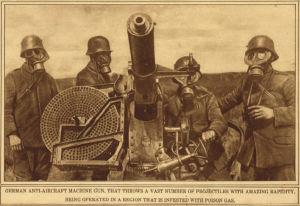 Tyska soldater under första världskriget med gasmasker och en luftvärnsmaskingevär