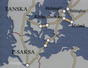 Kartta Tanskan salmien rakennussuunnitelmista 1990
