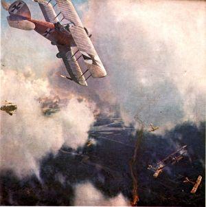 En målning av en luftsrid mellan brittiska och tyska luftkrafter.