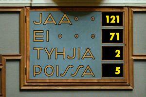 Riksdagens röstresultat om principansökan för Fennovoimas kraftverk, sommaren 2010.