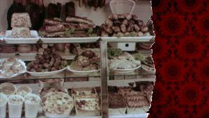 Gammal butiksdisk med mat