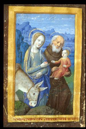 Maria, Joosef, Jeesus ja aasi kirjassa 1400-luvun rukouskirjassa Book of Hours, Use of Tours