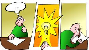 Sarjakuva, jossa mies saa oivalluksen ja lamppu syttyy