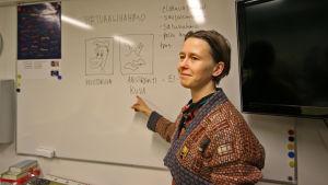 kuvaamataidon opettaja luokassa